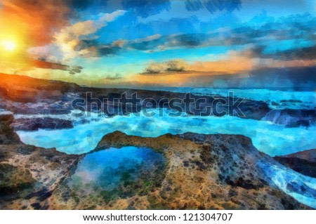 Digital structure of painting. Beautiful sunset on the shore