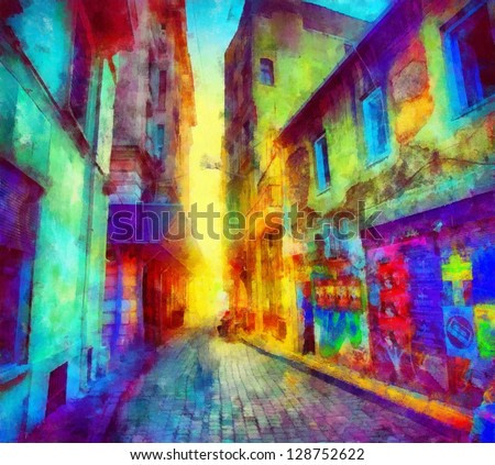 Digital structure of painting. Rainbow bystreet