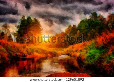 Digital structure of painting. Sunset in forest