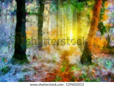 Digital structure of painting. Landscape in forest