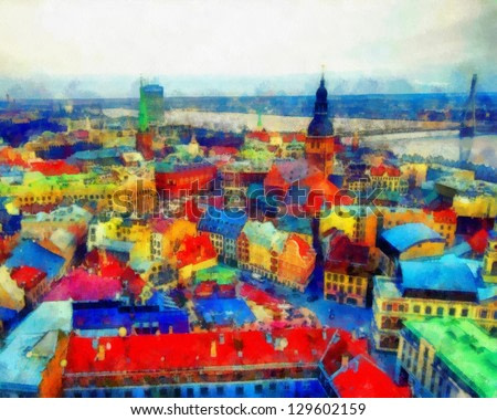 Digital structure of painting. Panoramic view of city