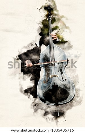 man in tuxedo playing the double bass in watercolors