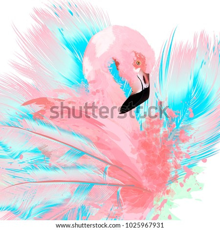 Beautiful vector illustration with drawn pink flamingo and blue feathers
