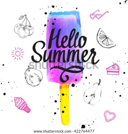 Watercolor illustration with ice cream on a stick. Poster with cold dessert. White background. Berry flavor sorbet. Sweet Popsicle. Hello summer.