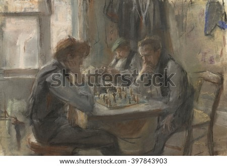 The Chess Players, by Isaac Israels, 1875-1922, Dutch art, colored chalk drawing on paper