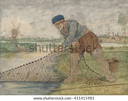 A Fisherman Hauling in his Net, by Hendrick Avercamp, 1595-1634, Dutch painting, watercolor on paper. Fisherman wearing full cut gathered breeches and high boots pulls his net from a canal