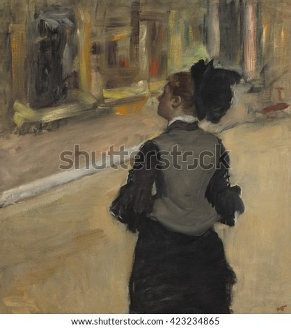 Woman Viewed from Behind (Visit to a Museum), by Edgar Degas, 1879-85, French impressionist painting, oil on canvas. This is probably a portrait of American painter, Mary Cassatt, in the Louvre