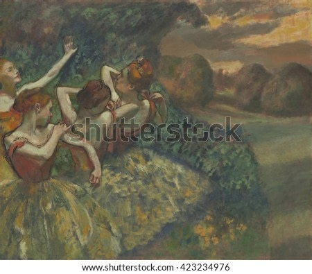 Four Dancers, by Edgar Degas, 1899. French impressionist painting, oil on canvas. The four figures were based on photographs of one model in different poses and represents one ballerina moving throug