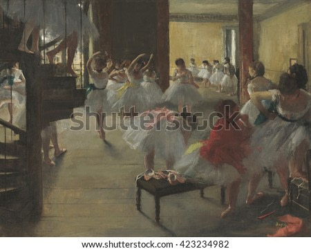 The Dance Class, by Edgar Degas, 1873, French impressionist painting, oil on canvas. Scene with young ballerinas at the Paris Opera House