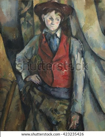 Boy in a Red Waistcoat, by Paul Cezanne, 1888-90, French Post-Impressionist painting, oil on canvas. The background is fractured and flattened into angles and arcs that anticipates the first cubist e