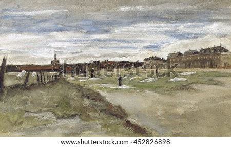 Bleachery at Scheveningen, by Vincent van Gogh, 1882, Dutch Post-Impressionist painting, watercolor heightened with white gouache. Van Gogh painted this 'right on the spot, washed in at one sitting,