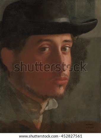 Self-portrait, by Edgar Degas, 1857-58, French impressionist painting, oil on paper. 23 year old Degas painted extreme close-up self-portrait, with saturated reds on the shadowed side of his face