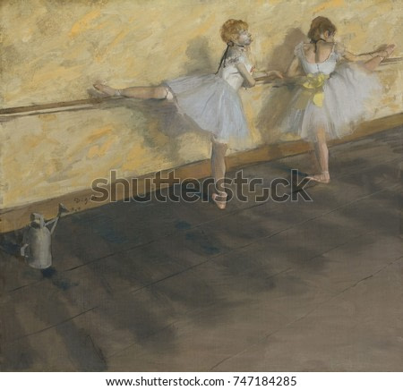 Dancers Practicing at the Barre, by Edgar Degas, 1874, French impressionist painting, on canvas. Louisine Havemeyer purchased this painting for $95,700 in 1912, setting a record price for a work by a