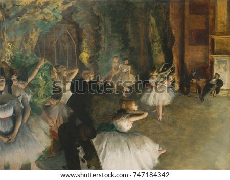 Rehearsal of the Ballet Onstage, by Edgar Degas, 1874, French impressionist mixed media drawing. Ballerinas stand in natural postures offstage, while men observe the dancers onstage. There are amusing
