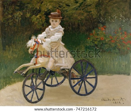 Jean Monet on His Hobby Horse, by Claude Monet, 1872, French impressionist painting, oil on canvas. Monet kept this portrait of his 5 year old son all of his life