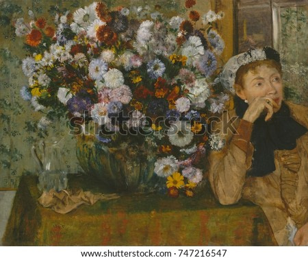 A Woman Seated beside a Vase of Flowers, by Edgar Degas, 1865, French impressionist oil painting. Degas adopted Impressionist pictorial elements, such as the sitters cropped placement on the canvas ed