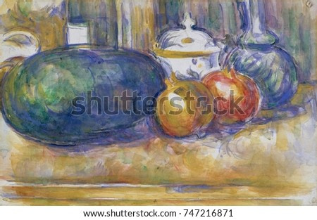 Still-Life with a Watermelon and Pomegranates, by Paul Cezanne, 1900-06, French Post-Impressionism. Watercolor painting over graphite on paper