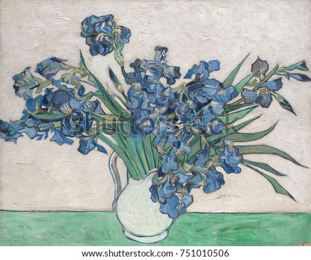 Irises, by Vincent Van Gogh, 1890, Dutch Post-Impressionist, oil on canvas. The paintings original pink background has faded because he used impermanent red pigments