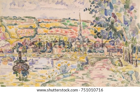 Petit Andely-The River Bank, by Paul Signac, 1920-29, French Post-Impressionist watercolor painting. This is a view of the harbor of Les Andelys, a village on the Seine River near Giverny
