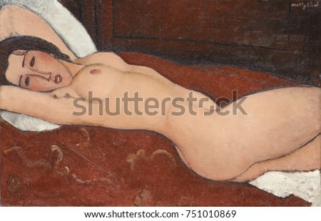 RECLINING NUDE, by Amedeo Modigliani, 1917, Italian modernist painting, oil on canvas. This is one for several dozen nudes Modigliani painted between 1916 and 1919 on commission from his dealer and fr