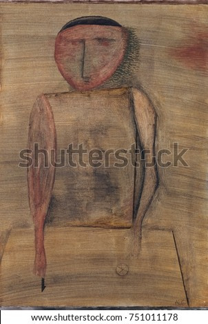 DOCTOR, by Paul Klee, 1930, Swiss drawing, watercolor, gouache, and oil wash on paper. Expressionistically distorted figure with minimal facial features. Near his hands are geometric symbols