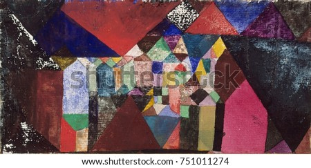 MUNICIPAL JEWEL, by Paul Klee, 1917, Swiss drawing, watercolor, gouache, and graphite on paper. Using intense colors inspired by his 1914 trip to Tunisia, Klees abstract flat planes of color suggest v