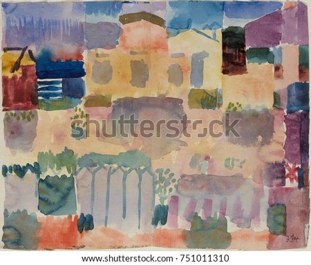 GARDEN IN ST. GERMAIN, EUROPEAN QUARTER NEAR TUNIS, by Paul Klee, 1914, Swiss watercolor painting. This work was painted after Klees visit to Tunisia