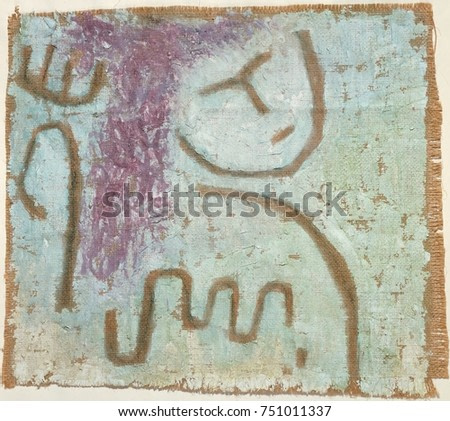 LITTLE HOPE, by Paul Klee, 1938, Swiss painting, plaster and watercolor on burlap. In the late 1930s, Klees work became pessimistic, echoing his personal fate and the political situation. The rough pa