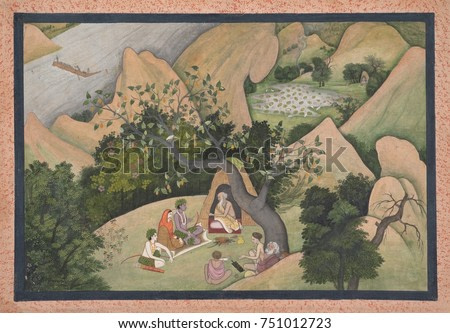 RAMA, SITA, AND LAKSHMANA AT THE HERMITAGE OF BHARADVAJA, Hindu, painting, opaque watercolor. The sage Bharadvaja, a revered Vedic Arya sage is seated in his wilderness forest shelter, and advises Ram