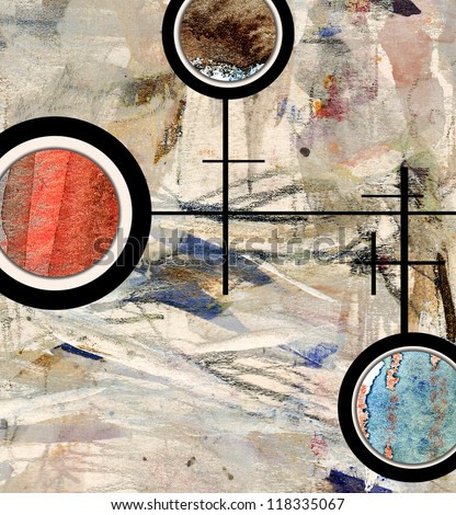 abstract art collage, mixed media and watercolor on paper