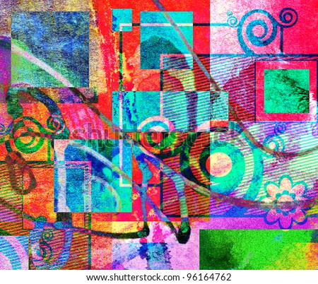 abstract digital painting, colorful graffiti collage