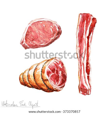 Watercolor Food Clipart - Meat