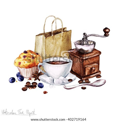 Watercolor Food Clipart - Coffee and Muffin