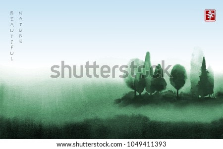 Landscape with green trees in fog hand drawn with ink in asian style. Green misty meadow and blue sky. Traditional oriental ink painting sumi-e, u-sin, go-hua. Contains hieroglyph - happiness.