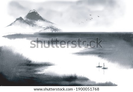 Minimalist ink wash painting landscape with mountains and fishing boats on big river. Traditional Japanese ink wash painting sumi-e