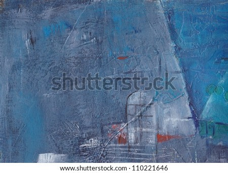 Blue window abstract background. Hand painted.