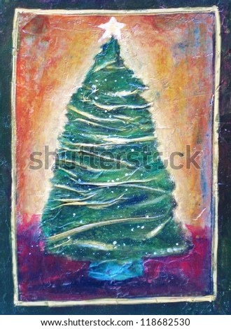 Decorated christmas tree with star