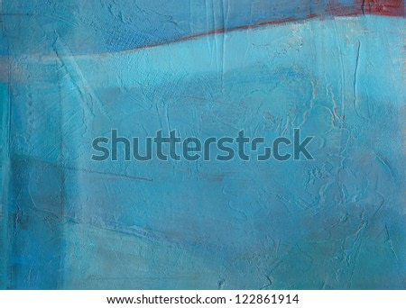 Textured abstract painting. Handpainted blue grunge background.