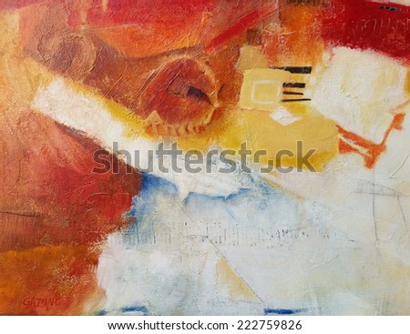 Hand painted abstract grunge background. Brush strokes on paper with space for text.