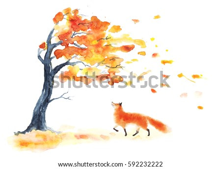 Watercolor autumn tree with yellow and orange leaves and red fluffy cute fox on white. Leaf fall with wind on white. Playing going smiling foxy. Hand drawing illustration.