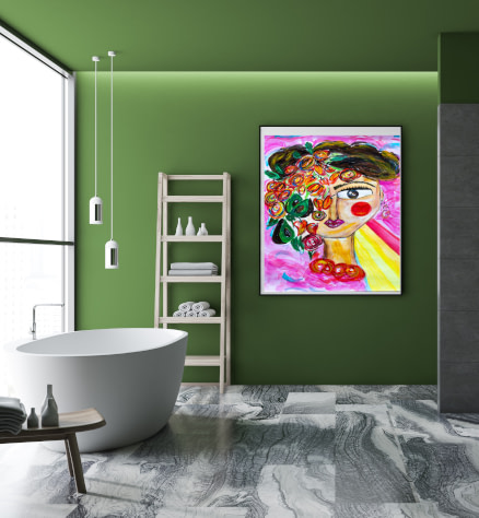 Energetic bathroom canvas and paper wall art prints
