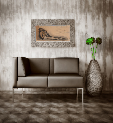 Midcentury modern style canvas and paper wall art prints