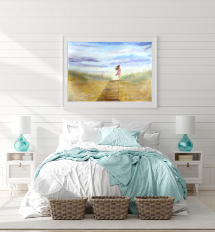 Transitional style canvas and paper wall art prints
